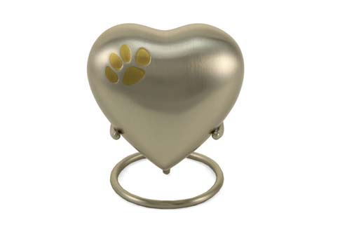 Keepsake Heart - Classic Single Paw Pewter Image